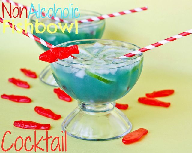 Non Alcoholic Fishbowl Cocktail by cookbookqueen:  INGREDIENTS:  1/2 cup coconut water  1/2 cup lemon lime soda  1/2 cup pineapple juice  Couple drops blue food color  Lemon and lime slices, maraschino cherries, and Swedish Fish for garnish