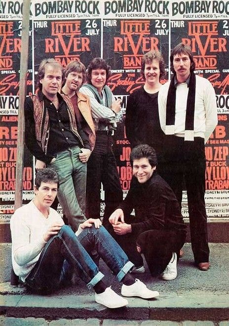 Little River Band in 1979. L to R: Beeb Birtles, Glenn Shorrock, Graeham Goble, Barry Sullivan, Derek Pellicci, David Briggs and Mal Logan
