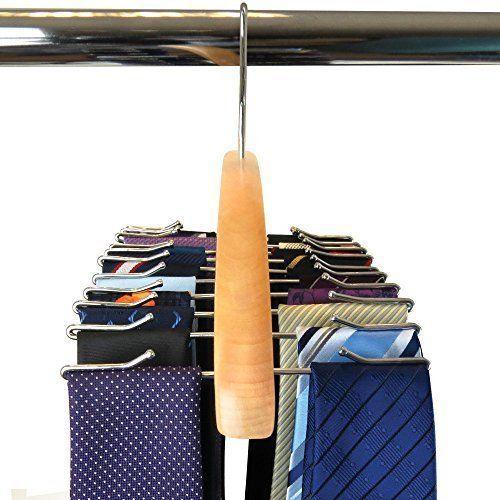 7 best Wooden Tie Belts Hanger Rack Organizer Holds 24 Ties Display ...