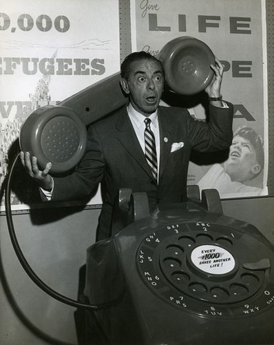 Eddie Cantor with oversized telephone