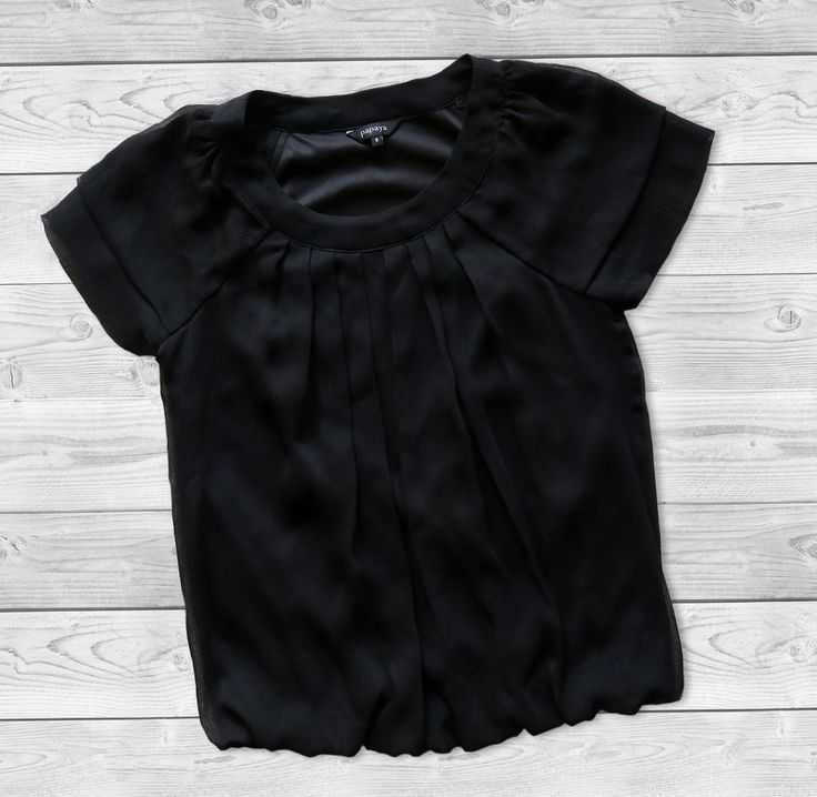 Papaya brand black chiffon blouse shirt top summer spring #Papaya #Blouse