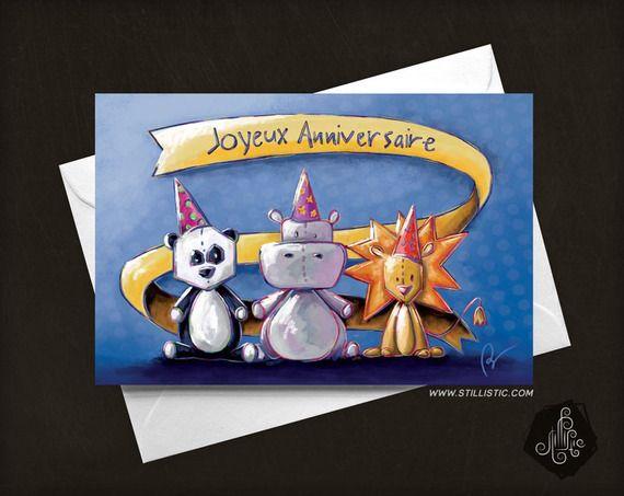 Carte de voeux Joyeux anniversaire Panda Lion & Hippo