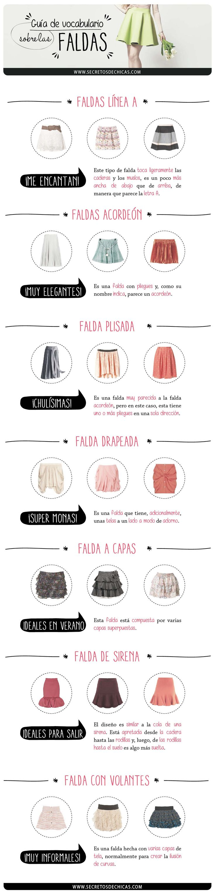 Guía de vocabulario sobre las faldas