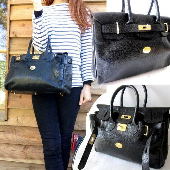 French VTG MAC DOUGLAS Black Leather handbag Pyla by laminuinette