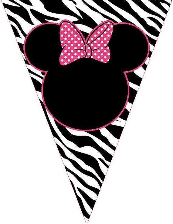 Printable Zebra Minnie Mouse Banner Happy Birthday by ...