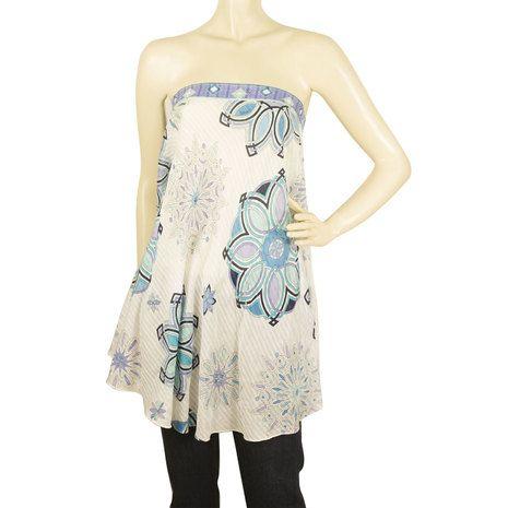 Emilio Pucci Floral Printed Blue Hues Handkerchief Strapless Top - Sz 42