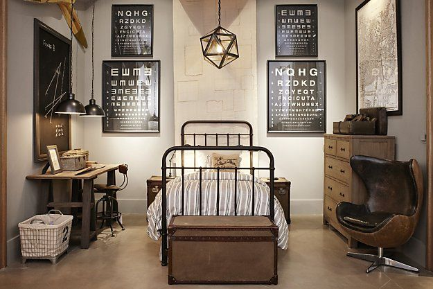 I love the rustic industrial look for a boy's room. I can see some great vintage robot prints hanging in the frames above to add some muted color.