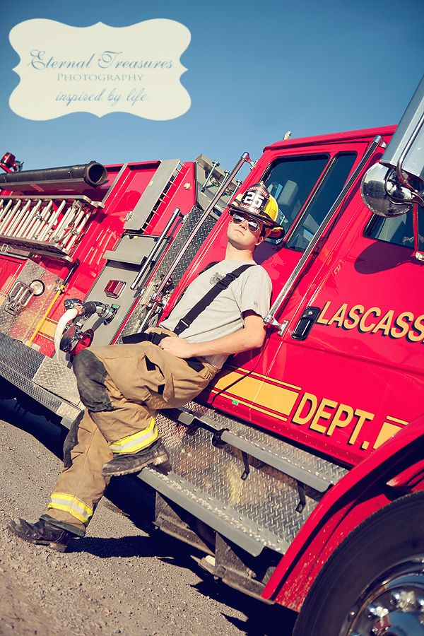 Firefighter senior photo   Shared by LION.... But standing in front of the Fire Dept.