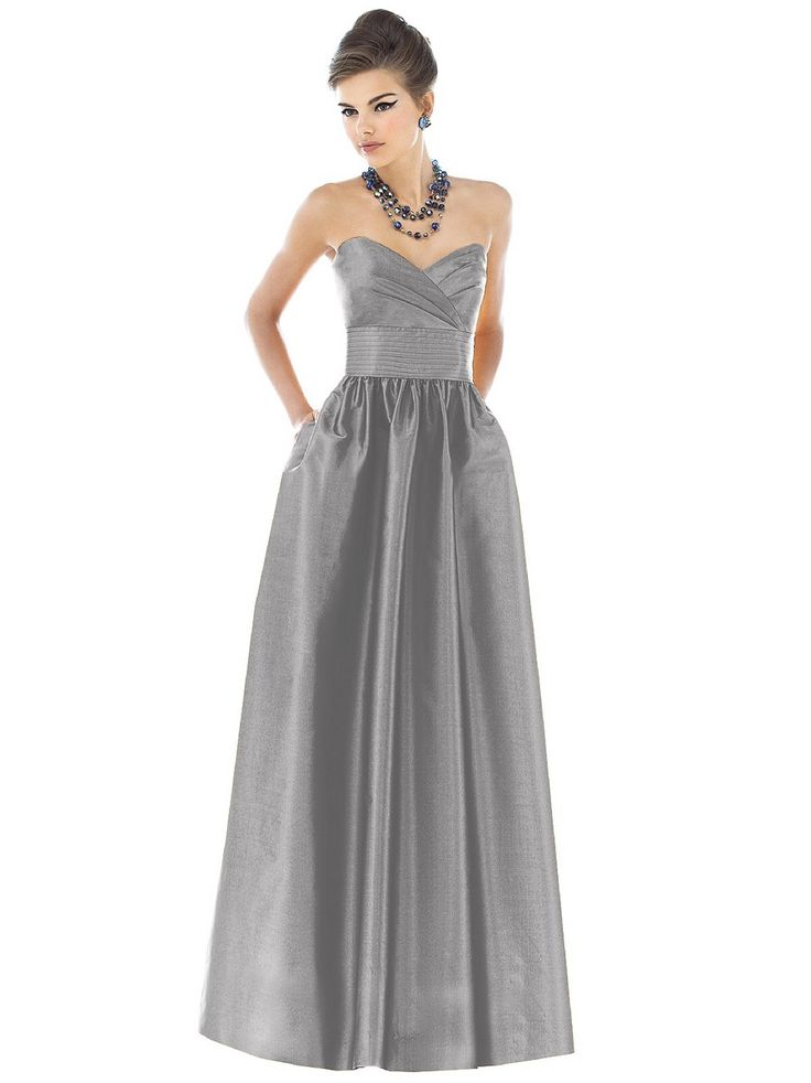 Alfred Sung D541 Dress Dupioni Sweetheart Neckline Pleated Waist