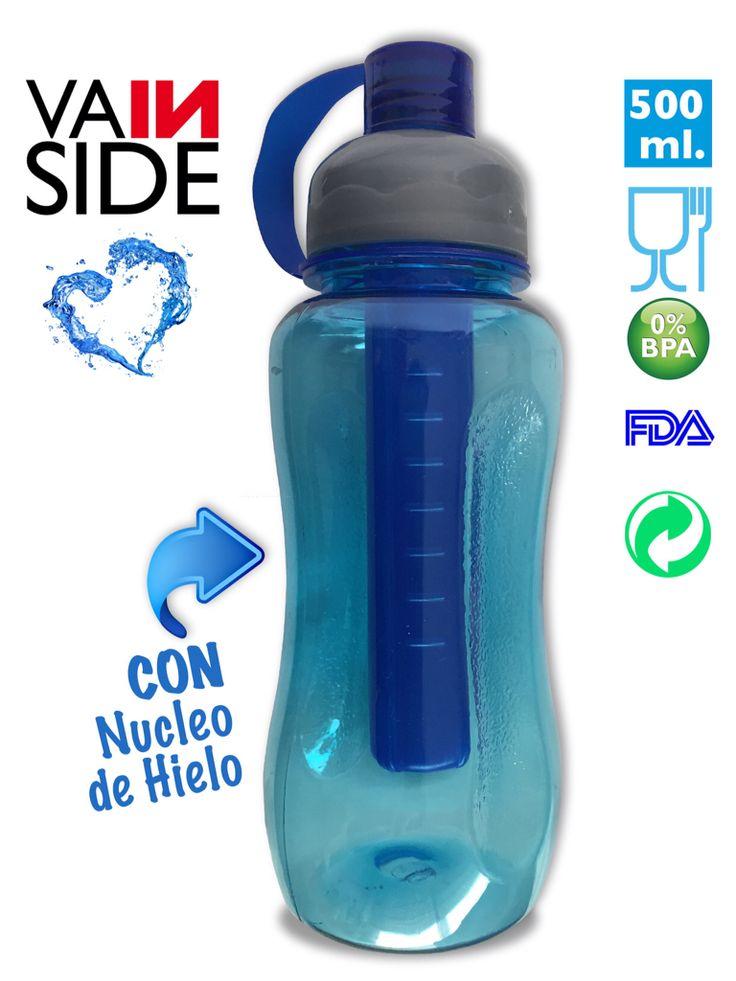 Botella VAINSIDE Oasis ICE 500ml. Con Núcleo de Hielo. Azul.