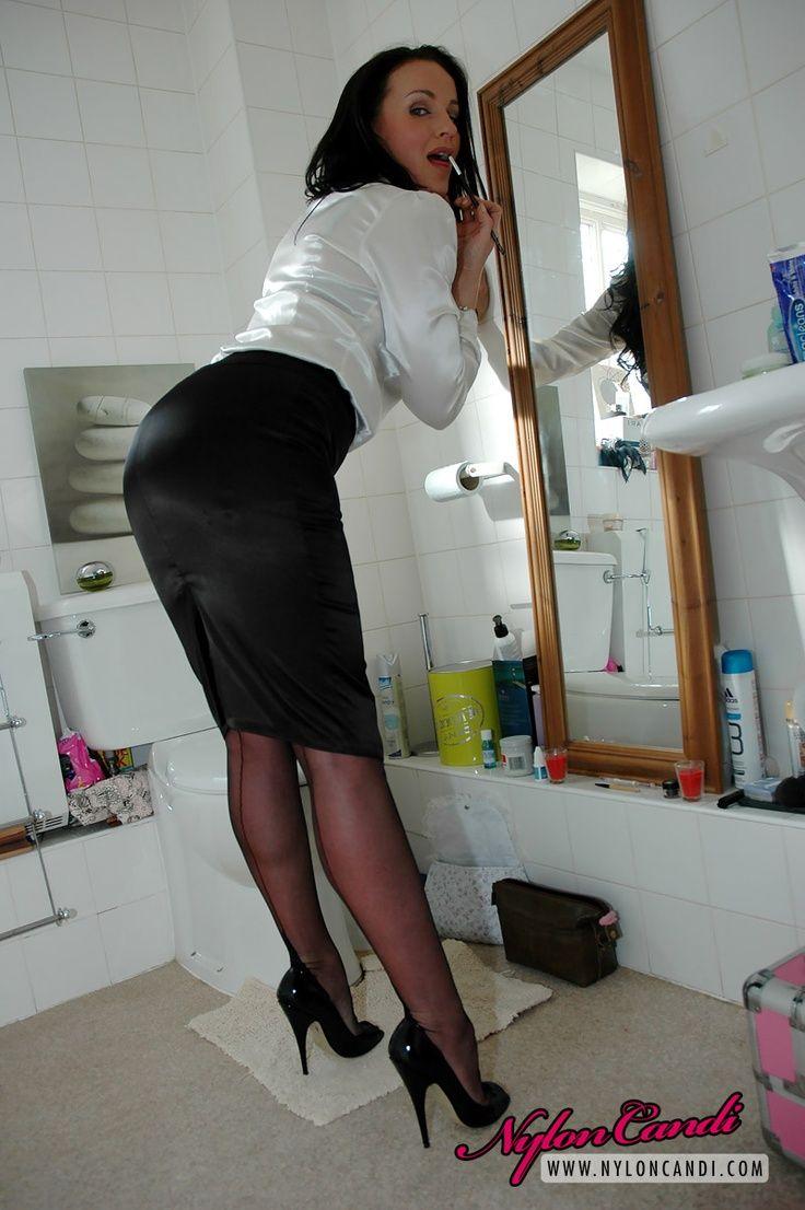 Black Satin Pencil Skirt White Satin Blouse Stockings and ...