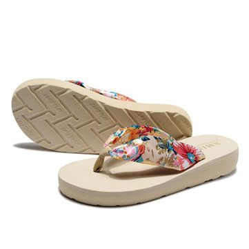 Big Size Summer Women Beach Slippers Bohemia Flip Flops Breathable Silk Slippers - US$9.64