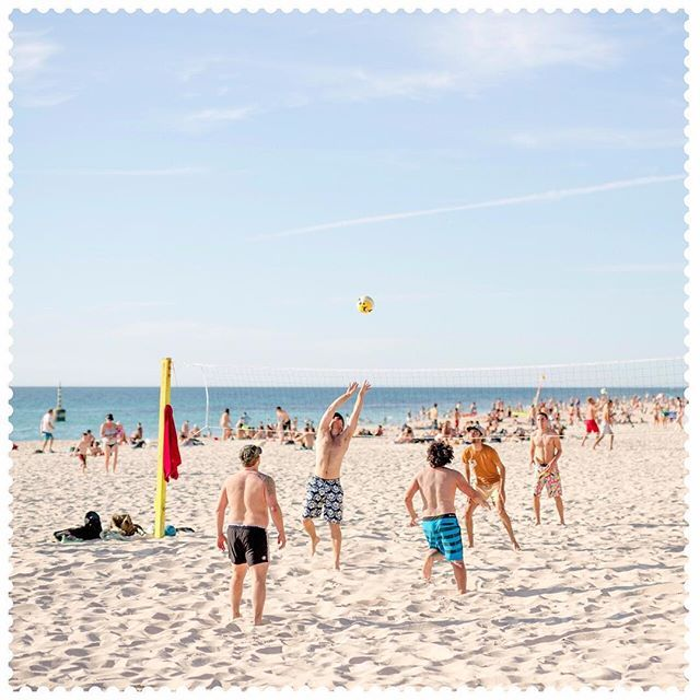 Probably one of the better ways to spend your Saturday afternoon. #Cottesloe, 6011. #AustraliaConnected #Beach #WA #BeachVolleyball #BeachSports #WeekendWorkout