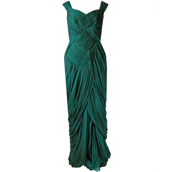 Preowned 1954 Jean Desses Haute-couture Seafoam Green Pleated... ($11,000) ❤ liked on Polyvore featuring dresses, gowns, green, long dresses, vintage, green evening dresses, vintage white dress, white ball gowns and long white dress