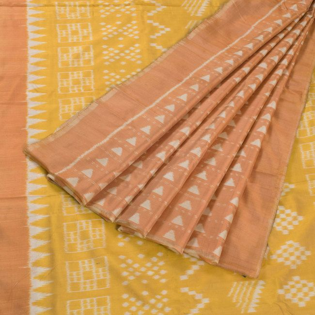 Kala Aur Katha Tulip Tree Yellow Handwoven Haldibasanta Ikat Silk Saree 10002594 - AVISHYA