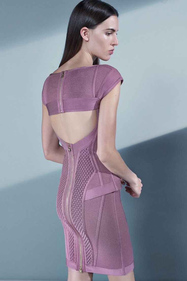 Hervé Léger by Max Azria Pre-Fall 2016 - Look 9 - Beautifully constructed net and strap bandage dress in lilac purple with back cutout