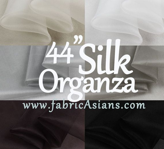 44 Pure Silk Organza. Black Organza. White by fabricAsians on Etsy