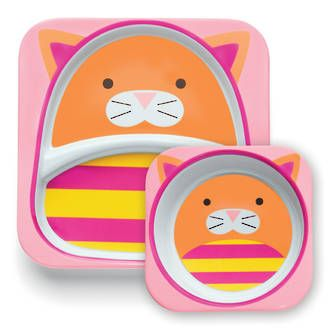 Skip Hop Zoo Melamine Bowl  Plate Set  - Cat