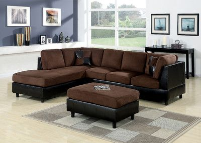 microfiber faux leather sofa chaise sectional set w ottoman in chocolate