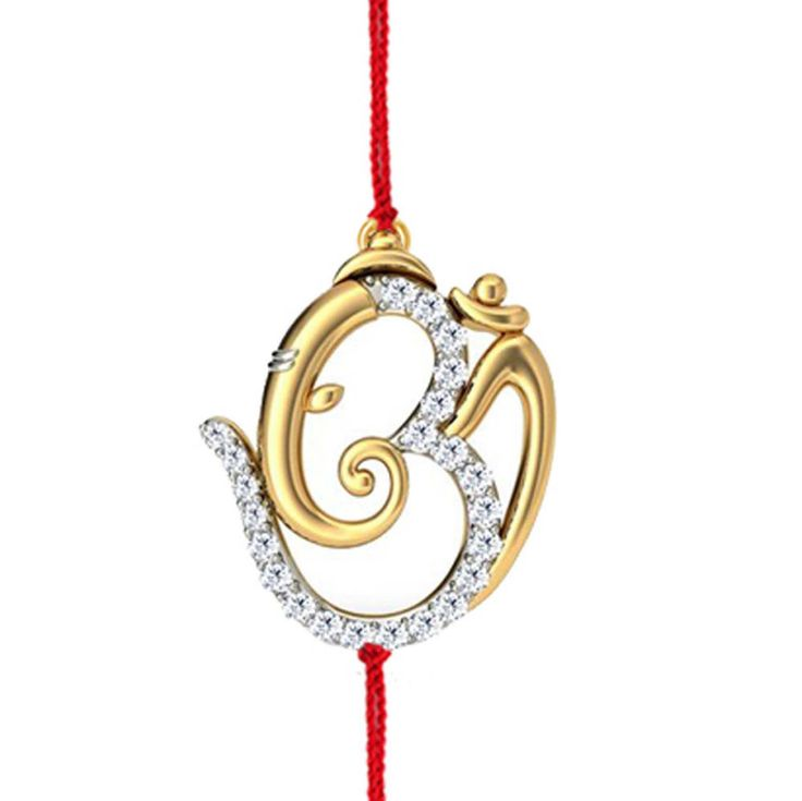 925 Sterling Silver White Round CZ OM With GANESHA Rakhi With Red Color Thread  #adorablejewely #OMWithGaneshaRakhi