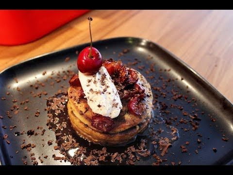 American style pancakes with cherries and chocolate. Served with a cherry infused maple syrup. This is freaking amazing no matter if you're looking for a hearty breakfast, a tasty desert, or diabetes.