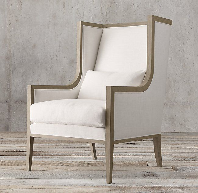 French Contemporary Slope Arm Wingback Chair Home