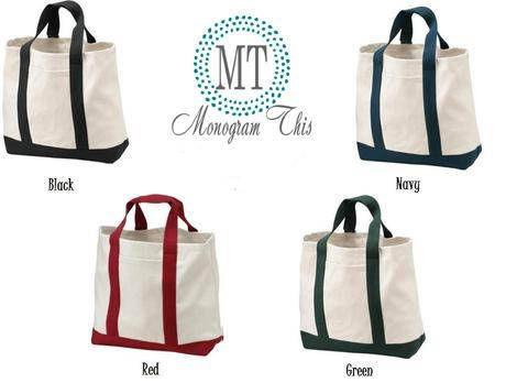 Set of 7 Canvas Boat Bags, Monogram Totes, Monogram gifts, Teacher gift
