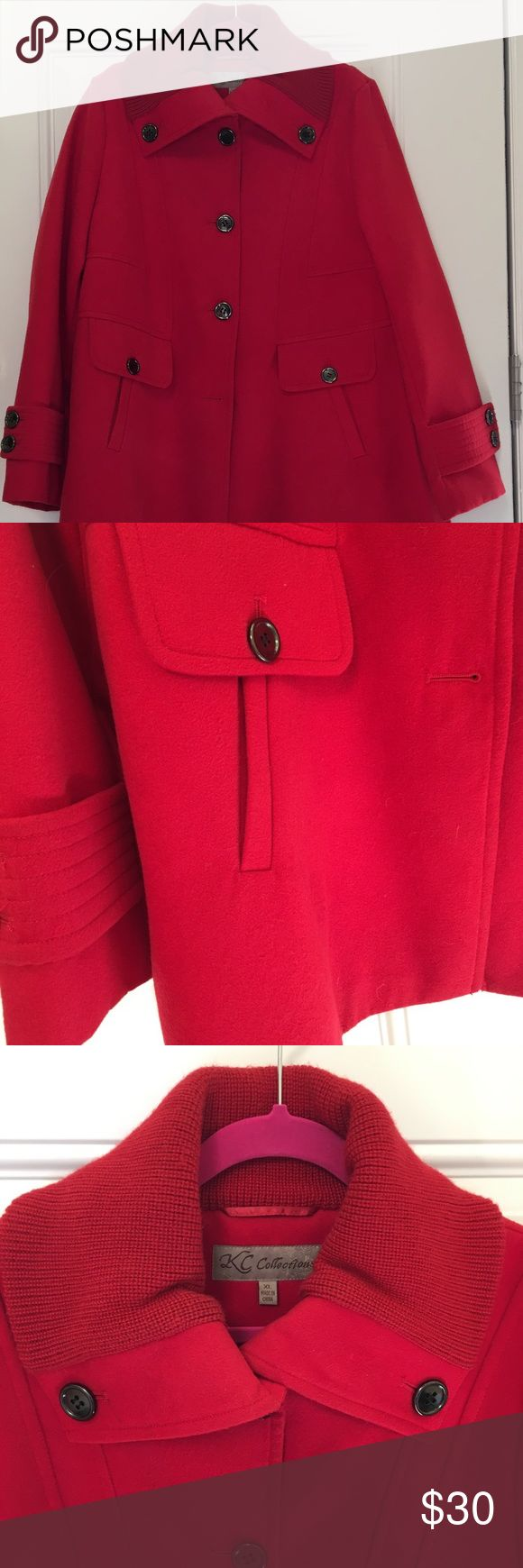 Red Coat Cute red pea coat is warm, comfortable and stylish!! It is lined with two pockets. The collar has a sweater type material. KC Collections Jackets & Coats Pea Coats