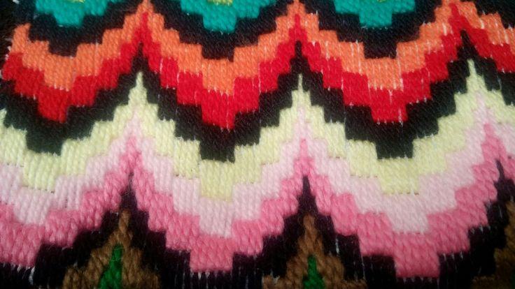 tejidos en arpillera  lanas multicolor