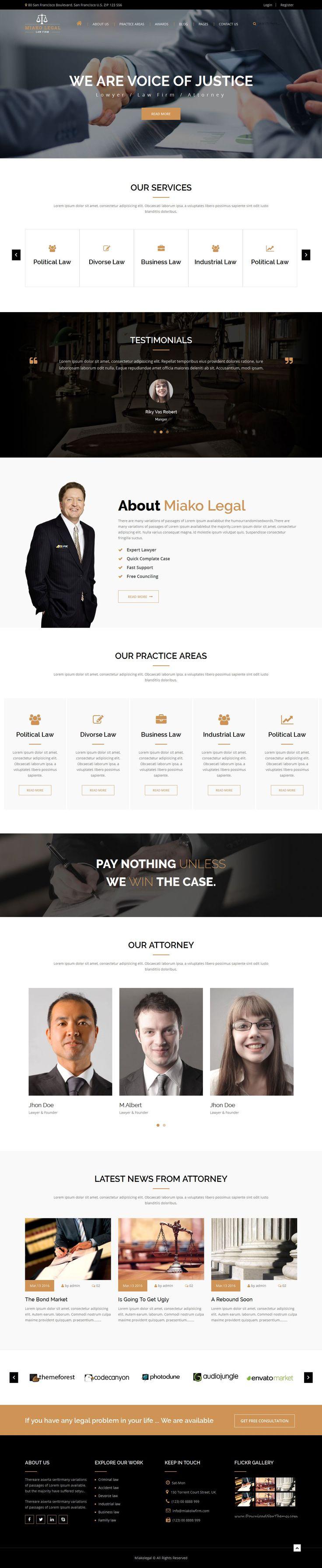 Miako Legal Law Firm Bootstrap HTML5 Template