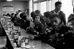 Danny Lyon :: The Student Nonviolent Coordinating Committee staff sit-in at Toddle House in Atlanta, Georgia, 1963 / more [+] by this photographer