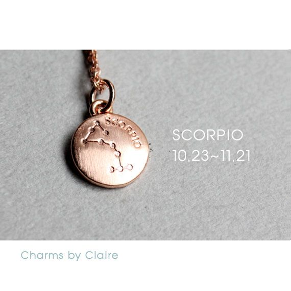 Hey, I found this really awesome Etsy listing at https://www.etsy.com/listing/463980995/scorpio-zodiac-disc-charms-rose-gold