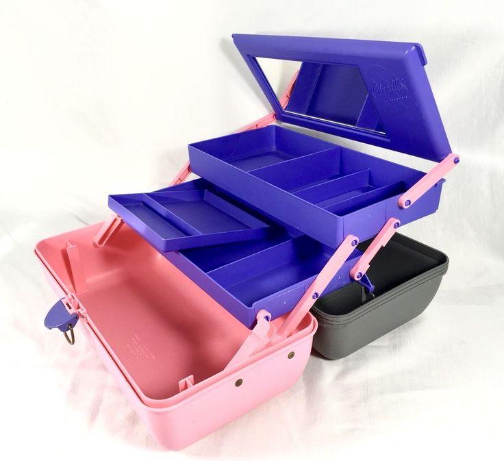Vintage 80's 90's CABOODLES Purple Pink 2 Tier Makeup Organizer Case Mirror 2630    eBay