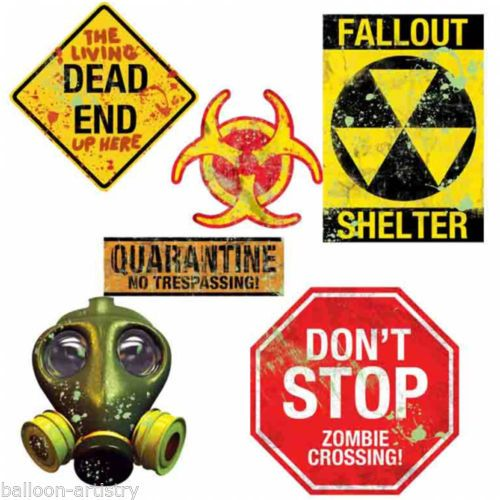 30 assorted halloween zombie apocalypse doomsday party cutouts decorations - Zombie Party Supplies