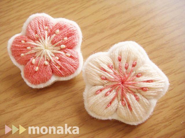 ハンドメイドマーケット minne(ミンネ)| 刺繍ブローチ 梅の花