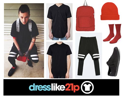 """Tyler's outfit from""""Stressed Out""""Shirt: exact (x)Under shirt: exact (i think?) (x)Bottoms: exact (x)Backpack: exact (x)Beanie: (x)Socks:(x)Shoes: exact (x) and for the gals (x)"""