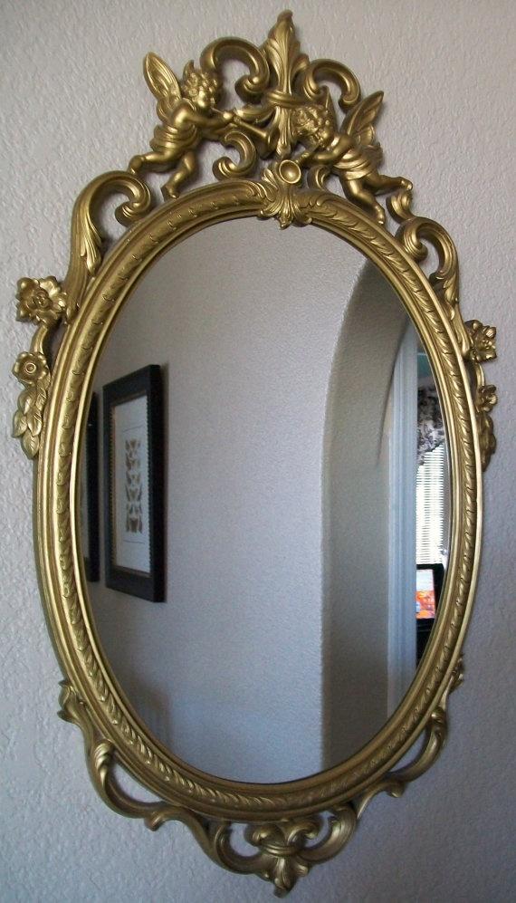 Rare Angel Cherubs Decorative Vintage Wall Mirror