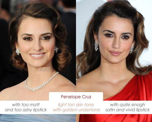 Make up charts: Olive Skin Tone such Penelope Cruz has