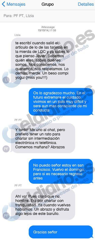 La conversación por sms entre Javier López Madrid, la reina Letizia Ortiz y el rey Felipe VI.
