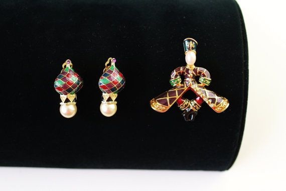 Rare Joan Rivers Enamel Russian Style Earrings  clip by Jewelrin