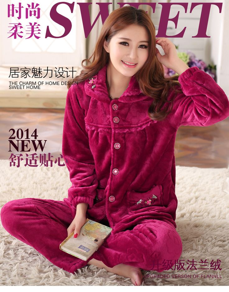 2014-New-Women-winter-Pajamas-Sets-Sleepwear-Nightclothes-Nightdress-flannel-Pajamas-Nightgown-nightshirt-BH-DX07-Free.jpg (750×956)