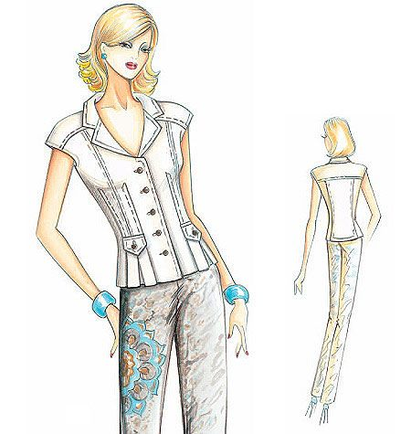 Sewing pattern, custom design, couture clothes, McCall's Marfy Collection: Fitted Shirt F2782