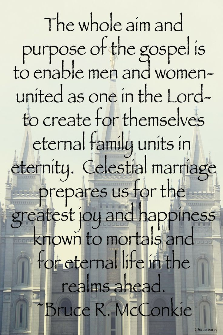 It's all about realizing our greatest potential and qualifying for a fullness of joy with our family. ... How has the temple http://facebook.com/163927770338391 and honoring your covenants brought you more happiness? Enjoy more from Elder Bruce R. McConkie http://pinterest.com/pin/24066179230192074 Learn more about God's design for marriage and the family http://lds.org/family/proclamation; http://facebook.com/189155347799517