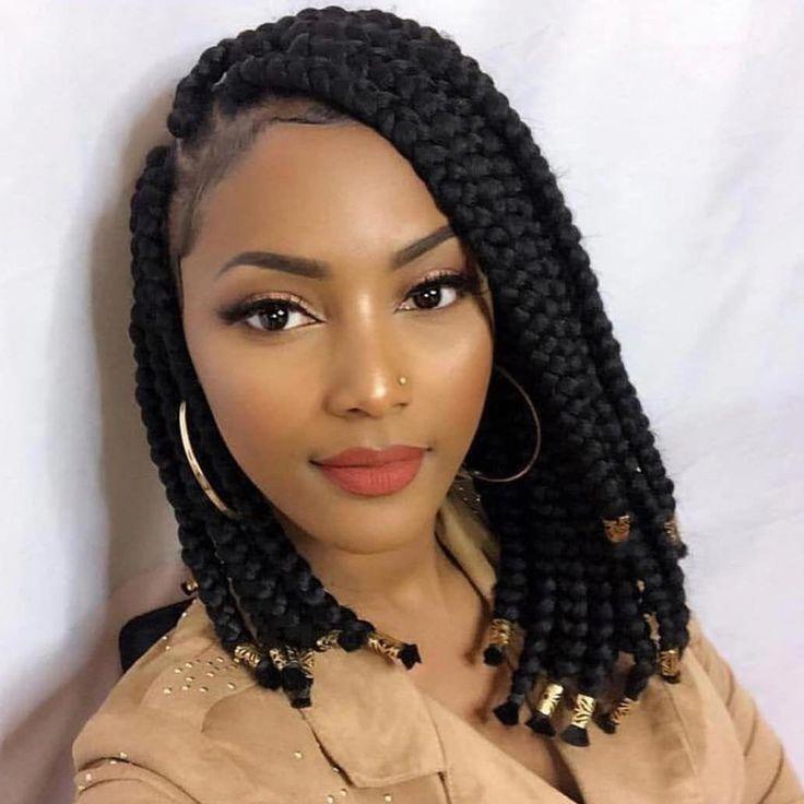Coiffures Tresse Avant Afro Americaine Jumboboxbraids African American Braid Front A Braids For Black Hair Short Box Braids Hairstyles Short Box Braids