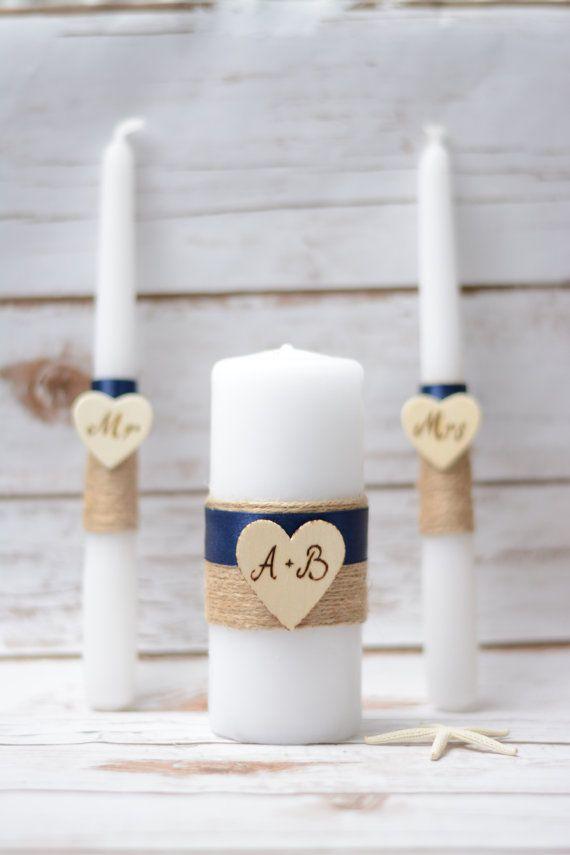 Matrimonio rustico unità candela Set Blu Navy candela