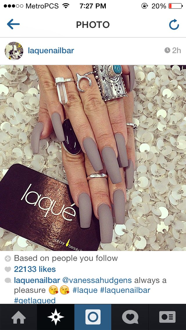 Matte grey nails. Long nails. Acrylic nails.