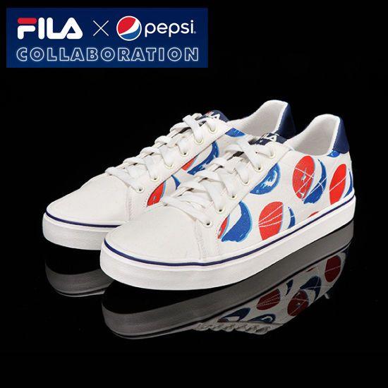 [Fila x Pepsi] Limited Original Canvas Casual Shoes All Unisex Size White #Fila #CasualShoes