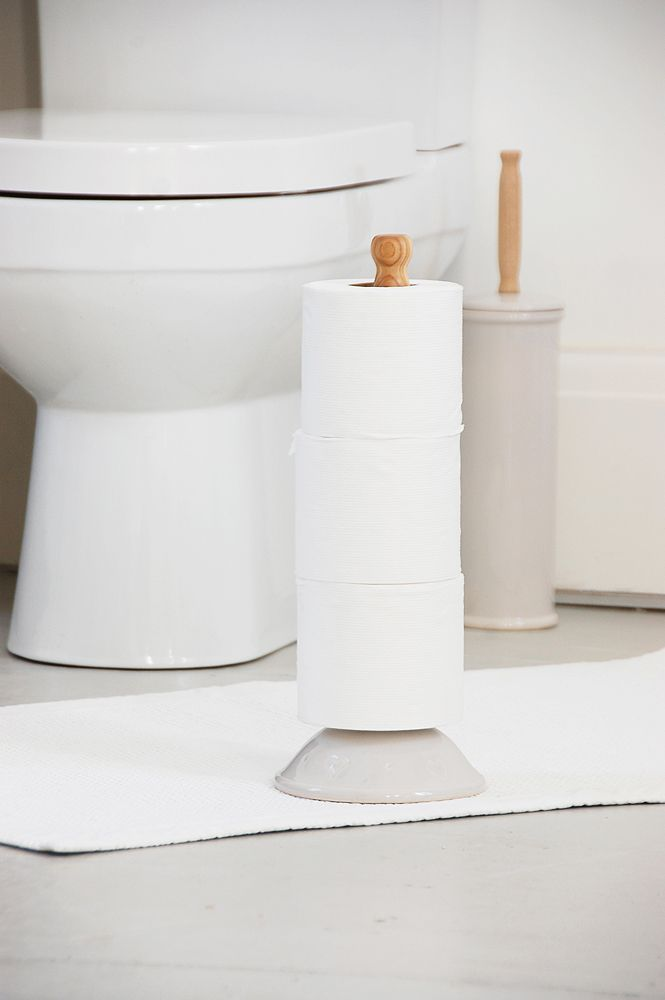 ceramic and beech toilet roll storage available in three colours and a choice of two patterns
