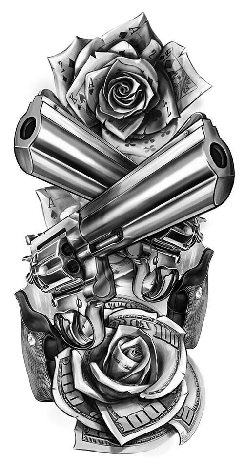 Revolver guns and dolars tattoo design                              …