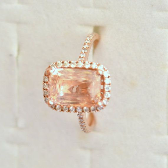 5 carat certified unheated Peach champagne Sapphire by ReneJewelry, $6900.00